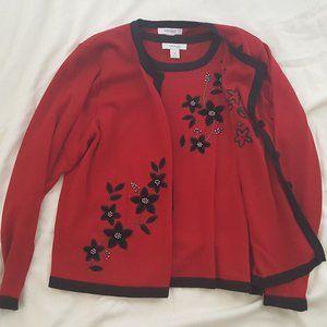 Dress Barn Red Black Vest Cardigan Sweater Set
